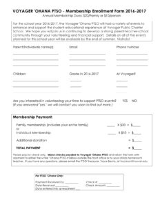 Membership Enrollment Form 2016 2017