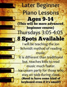 Piano Lessons Late Beginners